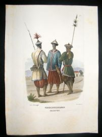 Schinz 1845 Antique Hand Col Print. Indo-China Soldiers 24